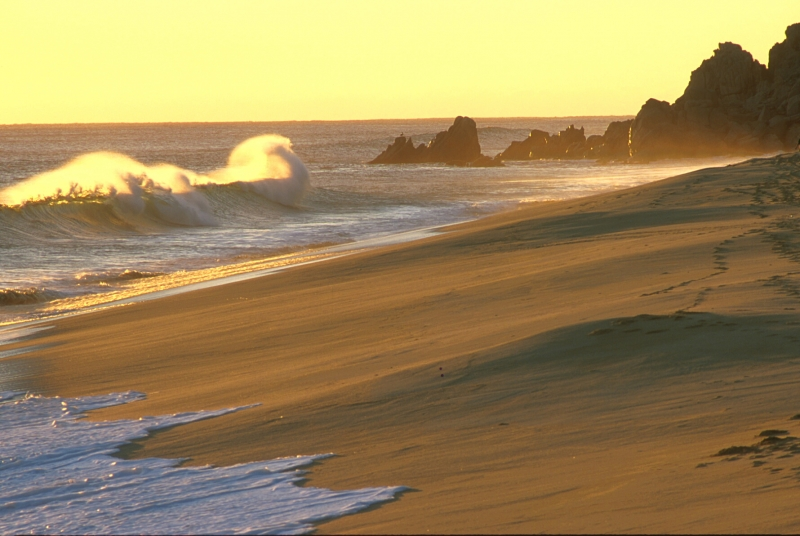 Sunset waves at Pacific Ocean